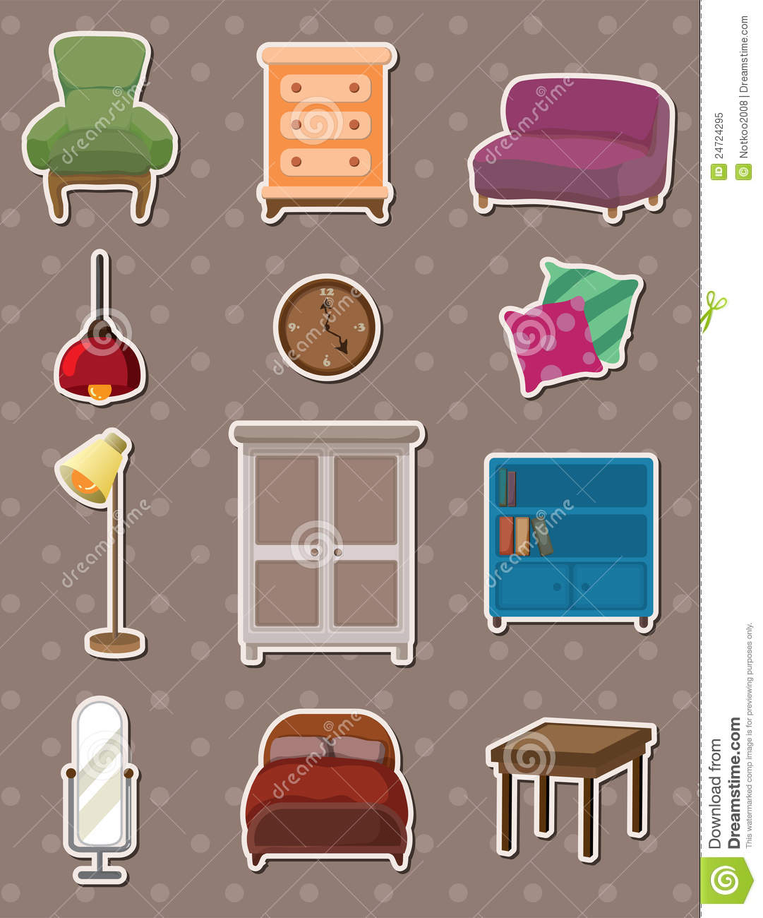 Cartoon Furniture Stickers Royalty Free Stock Photo