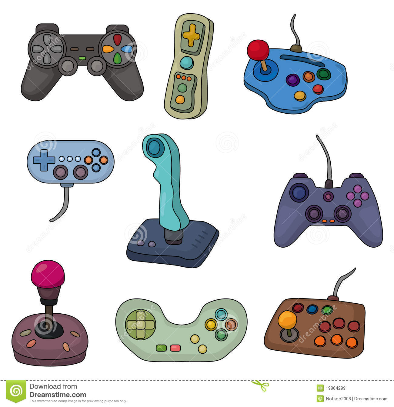 Cartoon Game Joystick Icon Set Royalty Free Stock Images - Image ...