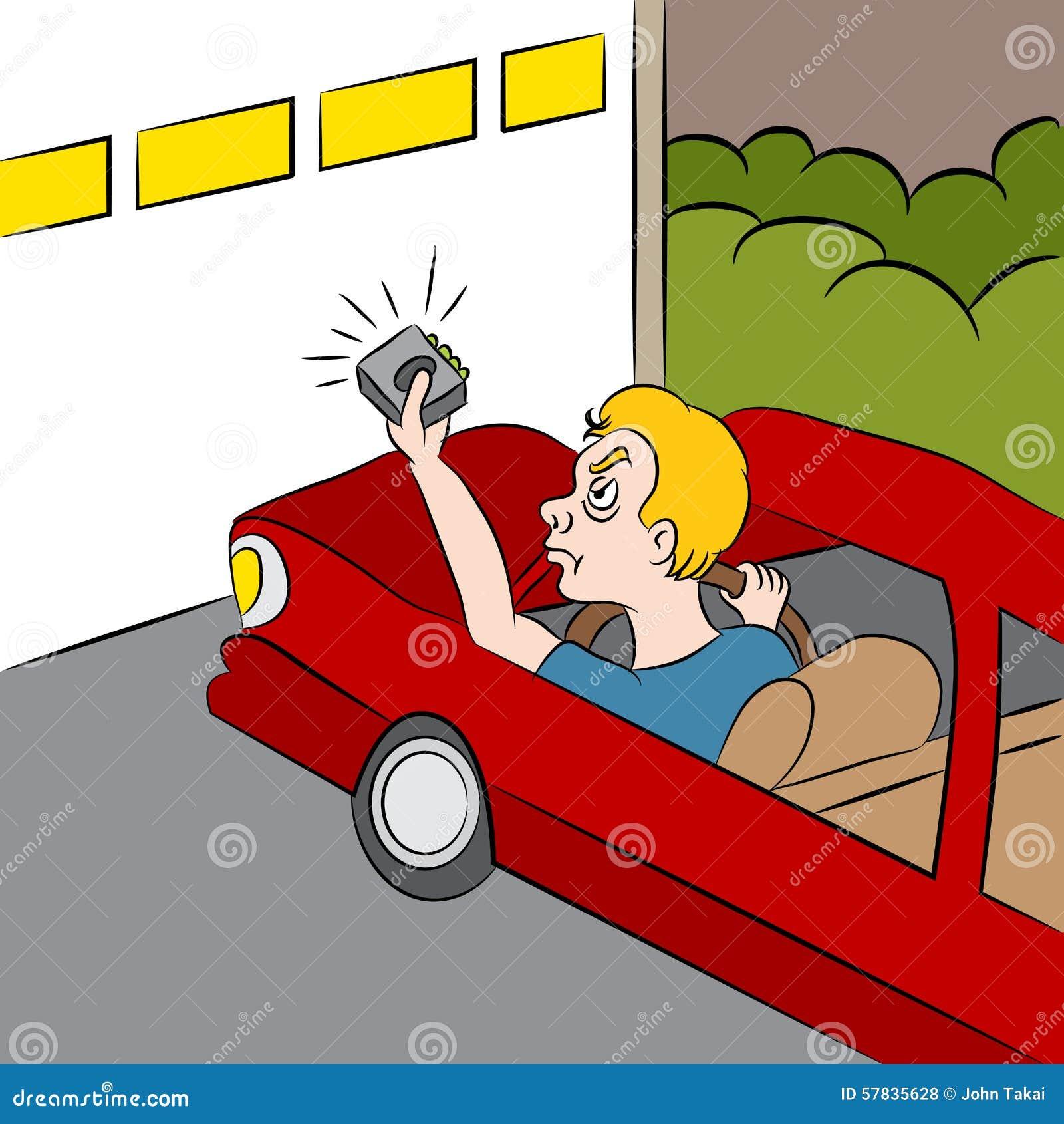 Cartoon Garage Door Not Opening Stock Vector