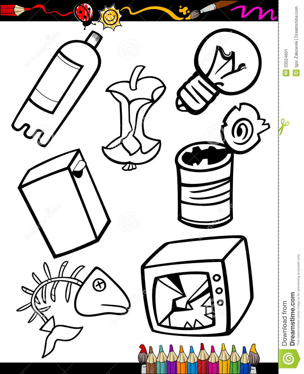 cartoon garbage objects coloring page stock image image 33524601