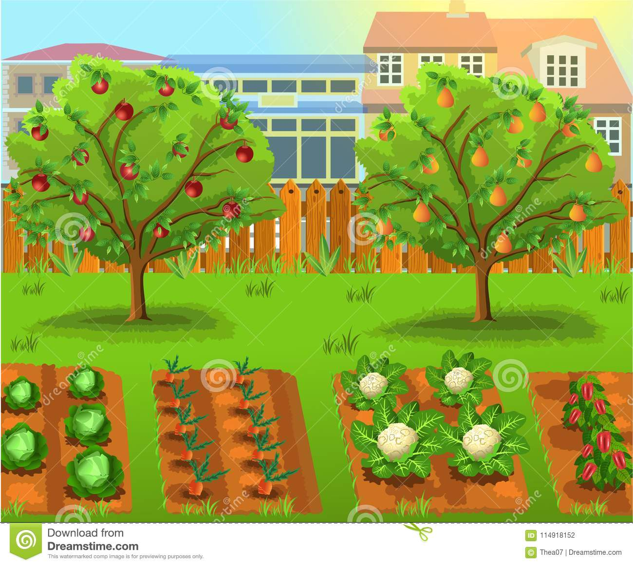 cartoon garden with vegetables and fruit trees stock vector