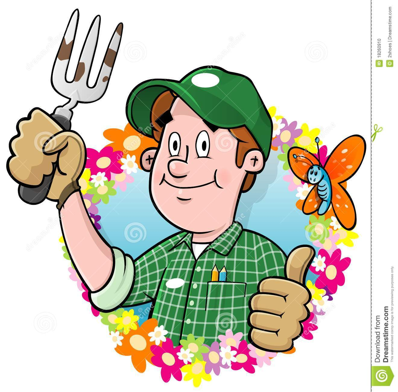 Cartoon Gardener Logo Stock Photo - Image: 18260910