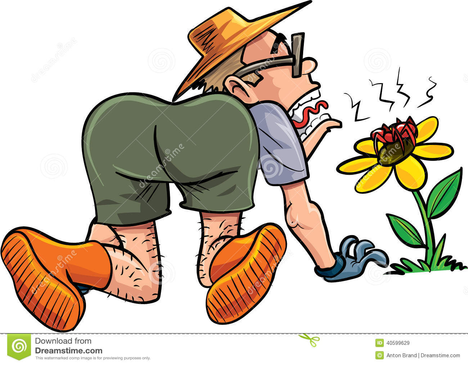 Cartoon Gardener Scared By Spider Stock Illustration