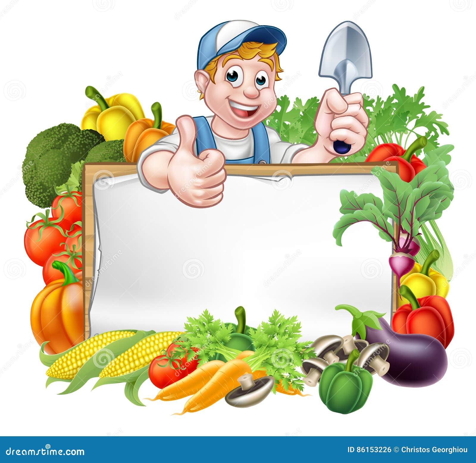 Cartoon gardener vegetables sign stock vector image for Les meilleurs sites de jardinage