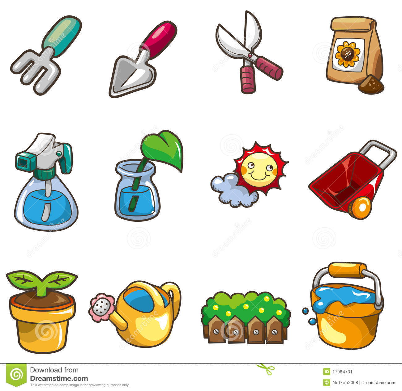 Cartoon gardening icon stock vector image of cartoon for Gardening tools cartoon