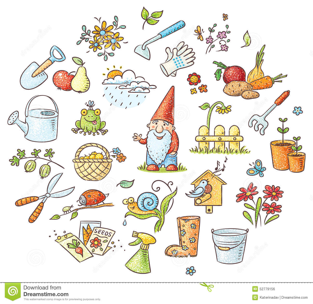 Cartoon gardening set stock vector image 52779156 for Gardening tools cartoon