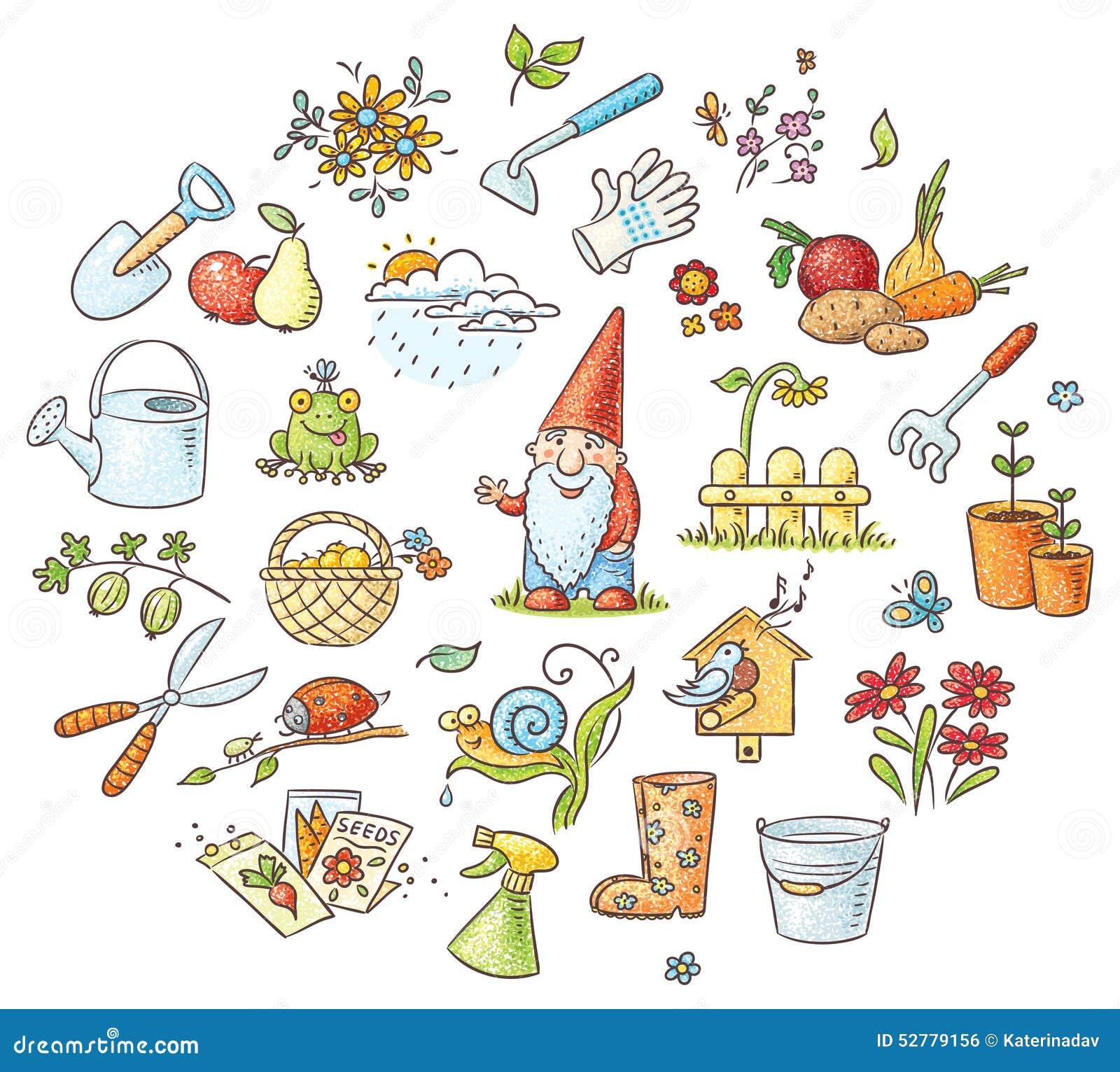 Vegetable garden kids drawing - Cartoon Gardening Set Stock Vector Image 52779156