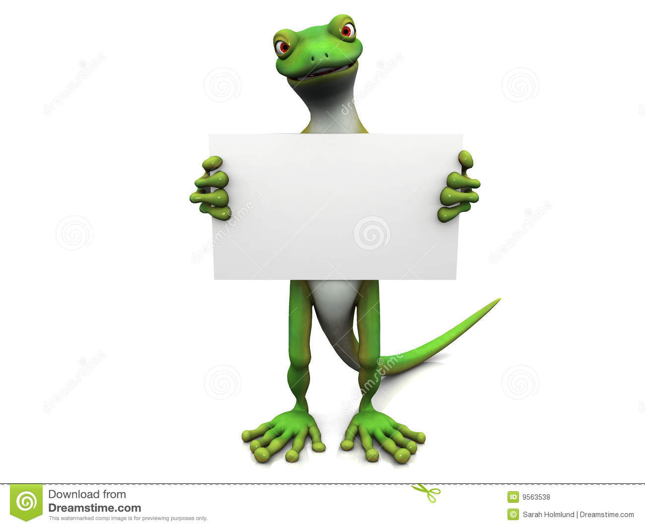 cartoon gecko with sign  stock illustration  image of sign