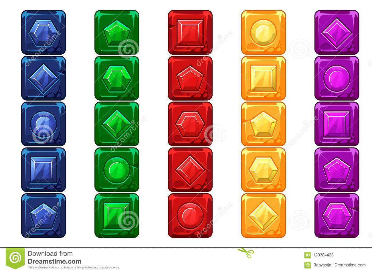 Cartoon gems, multi-colored stone buttons For Ui Game