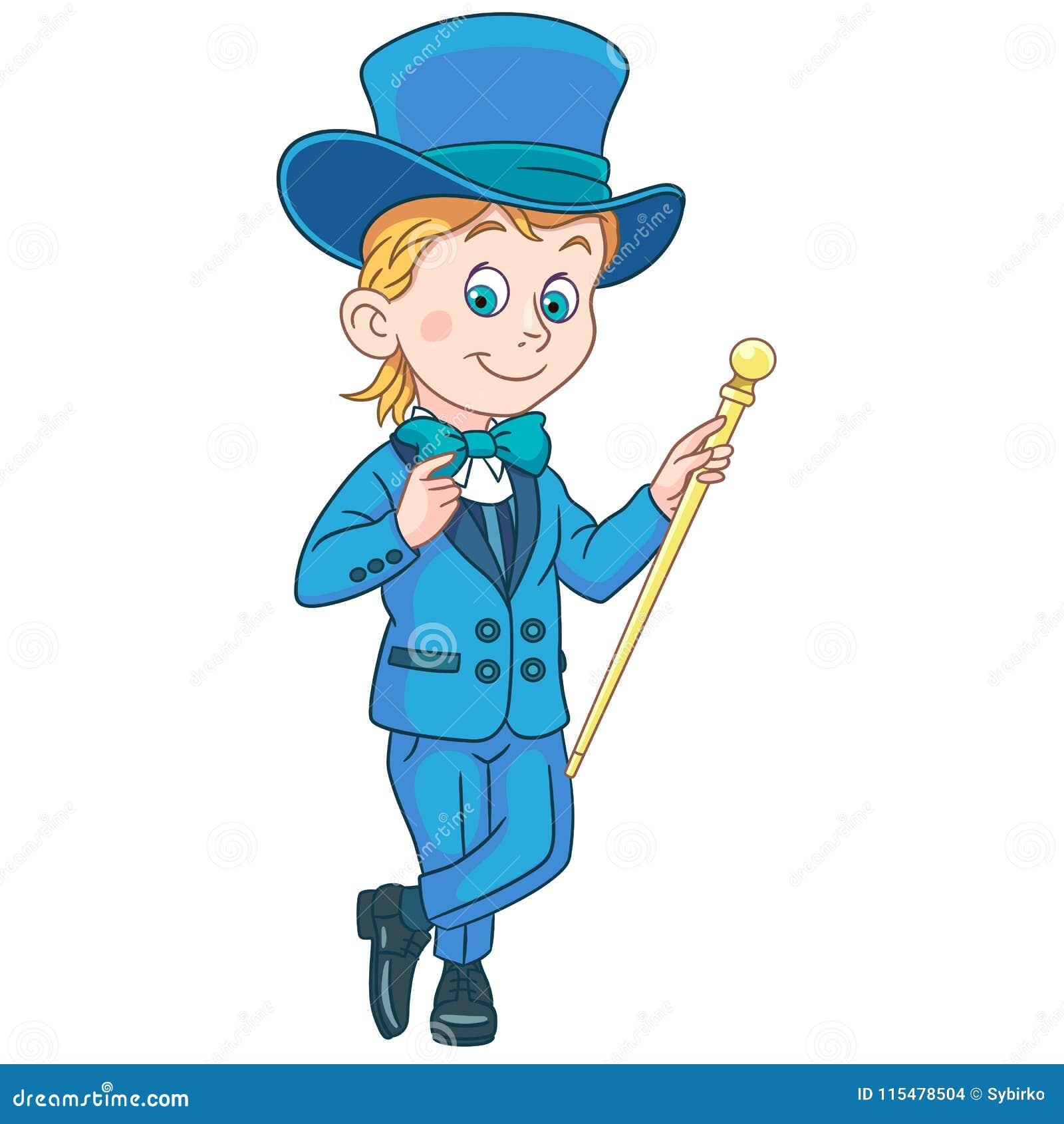 Cartoon gentleman in tuxedo and top hat