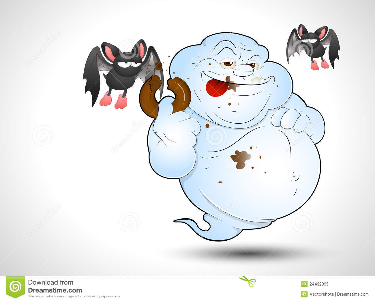Creative Design Art of Cartoon Ghost Vector Illustration.