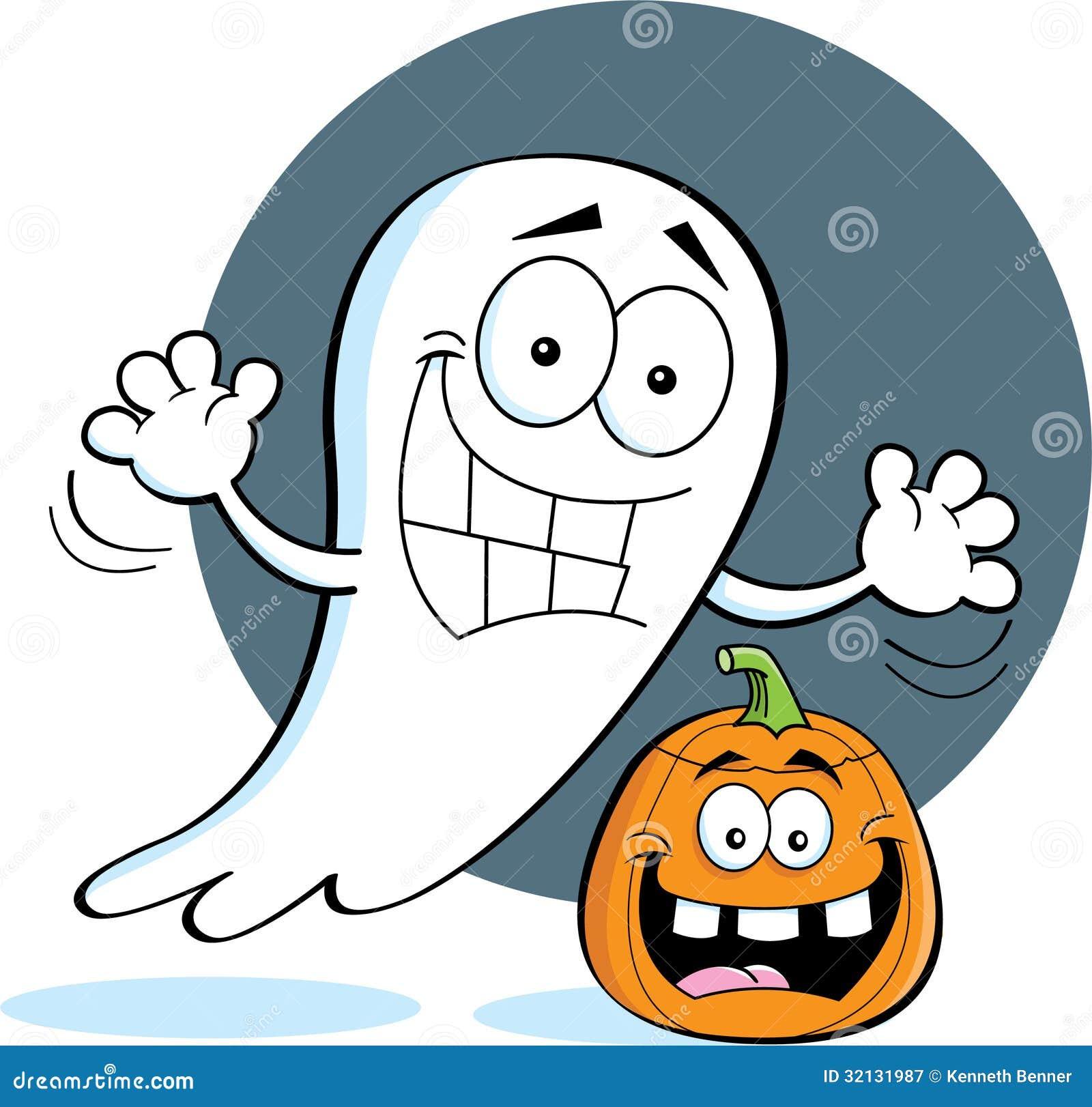 Cartoon Ghost With A Pumpkin Stock Vector
