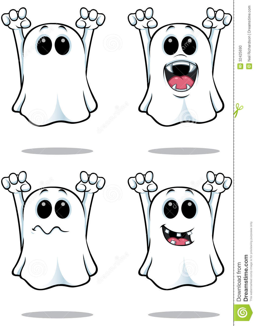 cartoon ghost illustration with 4 different facial expressions.