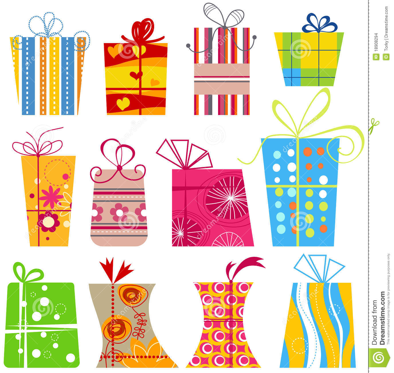 Cartoon gift boxes stock vector image of bright object