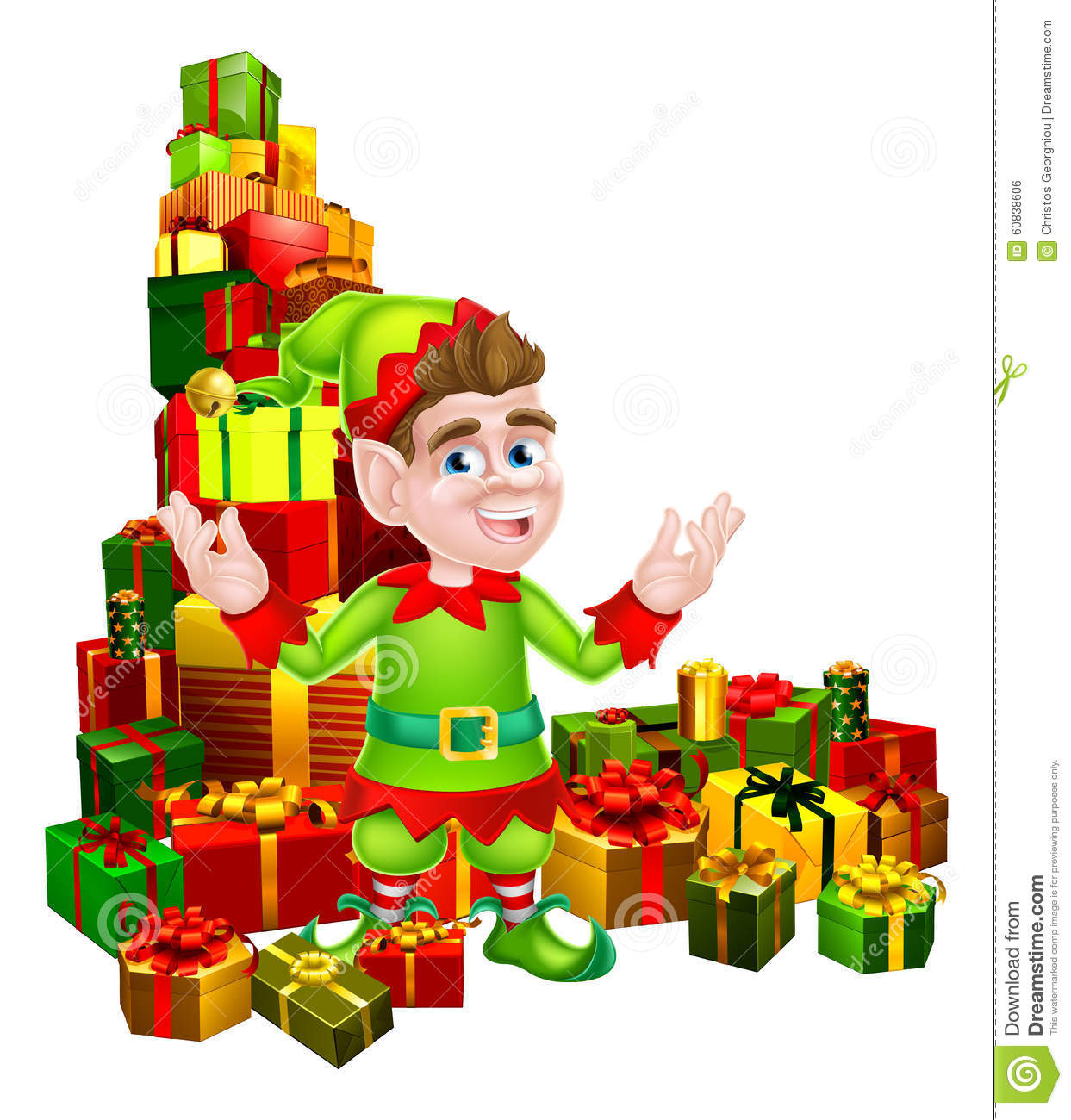 Christmas Toys Cartoon : Cartoon gifts elf stock vector image of helper holiday