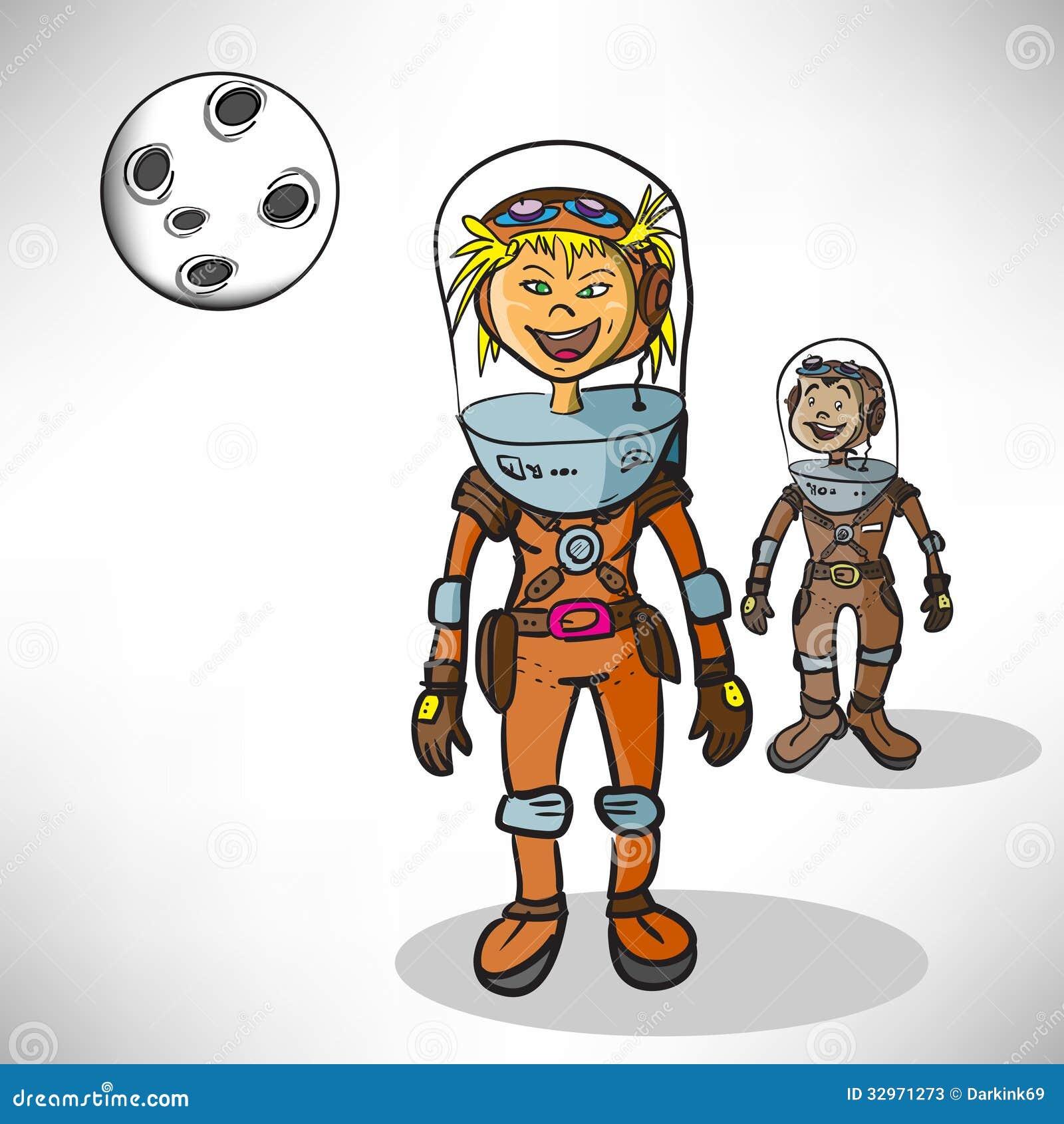 Cartoon Girl Astronaut Stock Photos - Image: 32971273