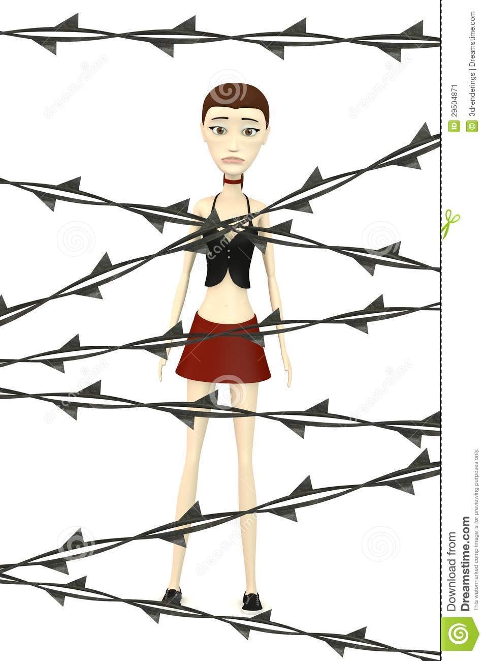 Cartoon girl with barbed wire stock image