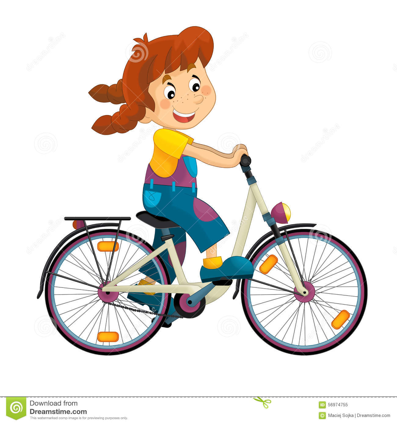 Cartoon Girl On The Bicycle Stock Illustration - Image: 56974755