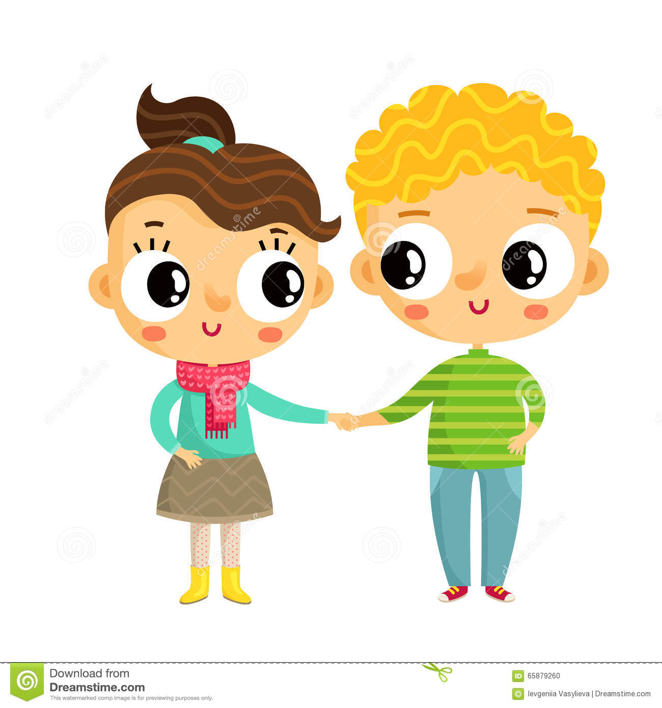 Cartoon Girl And Boy Holding Hands Cute Vector Characters