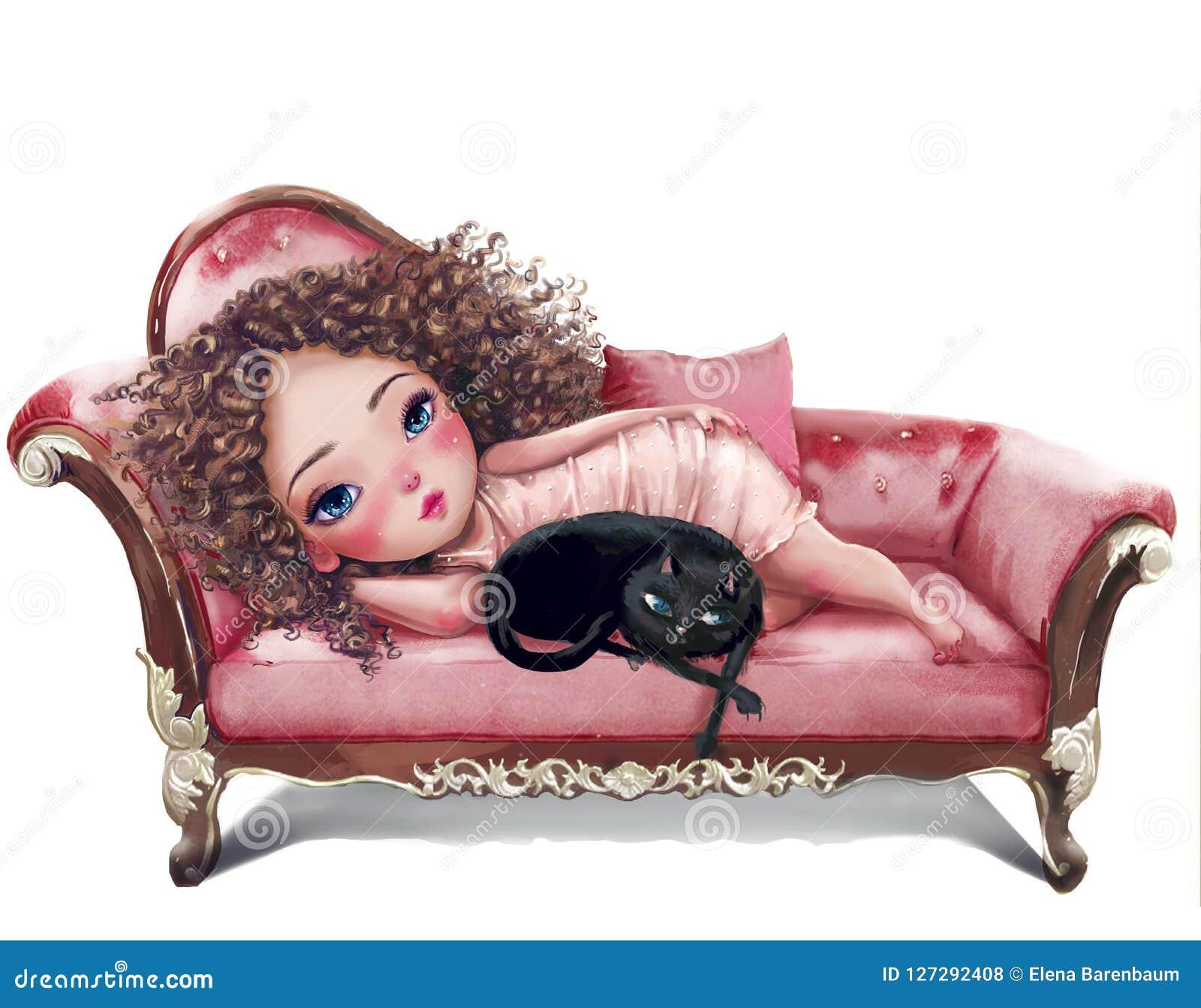 Cartoon girl with cat on sofa