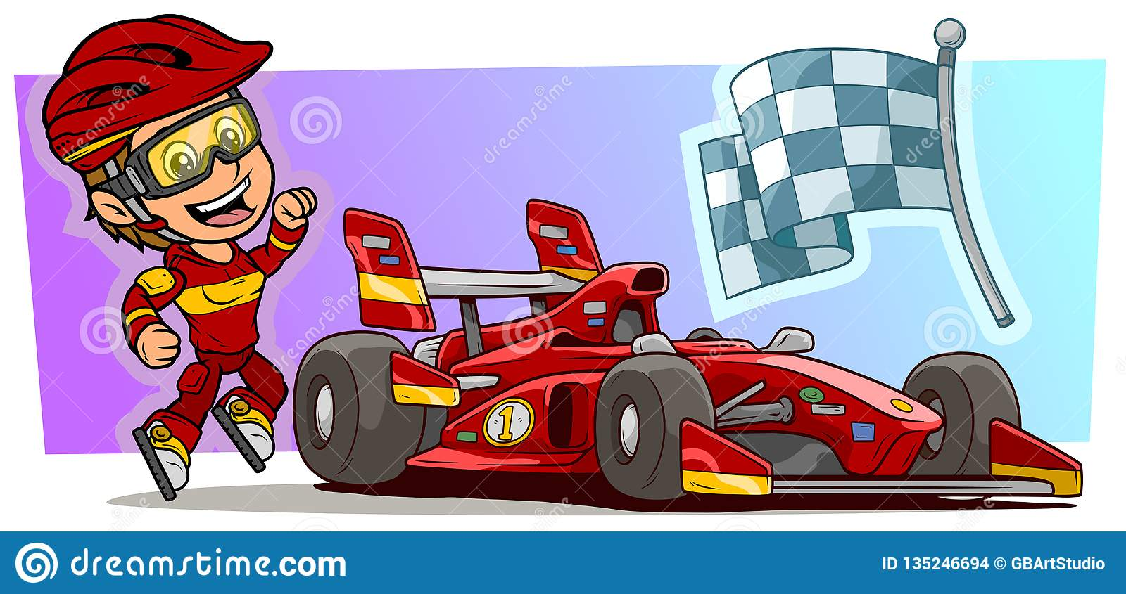 Cartoon white cute smiling flat jumping girl character with modern red sport car cool stickers and racing flag in protective helmet and glasses