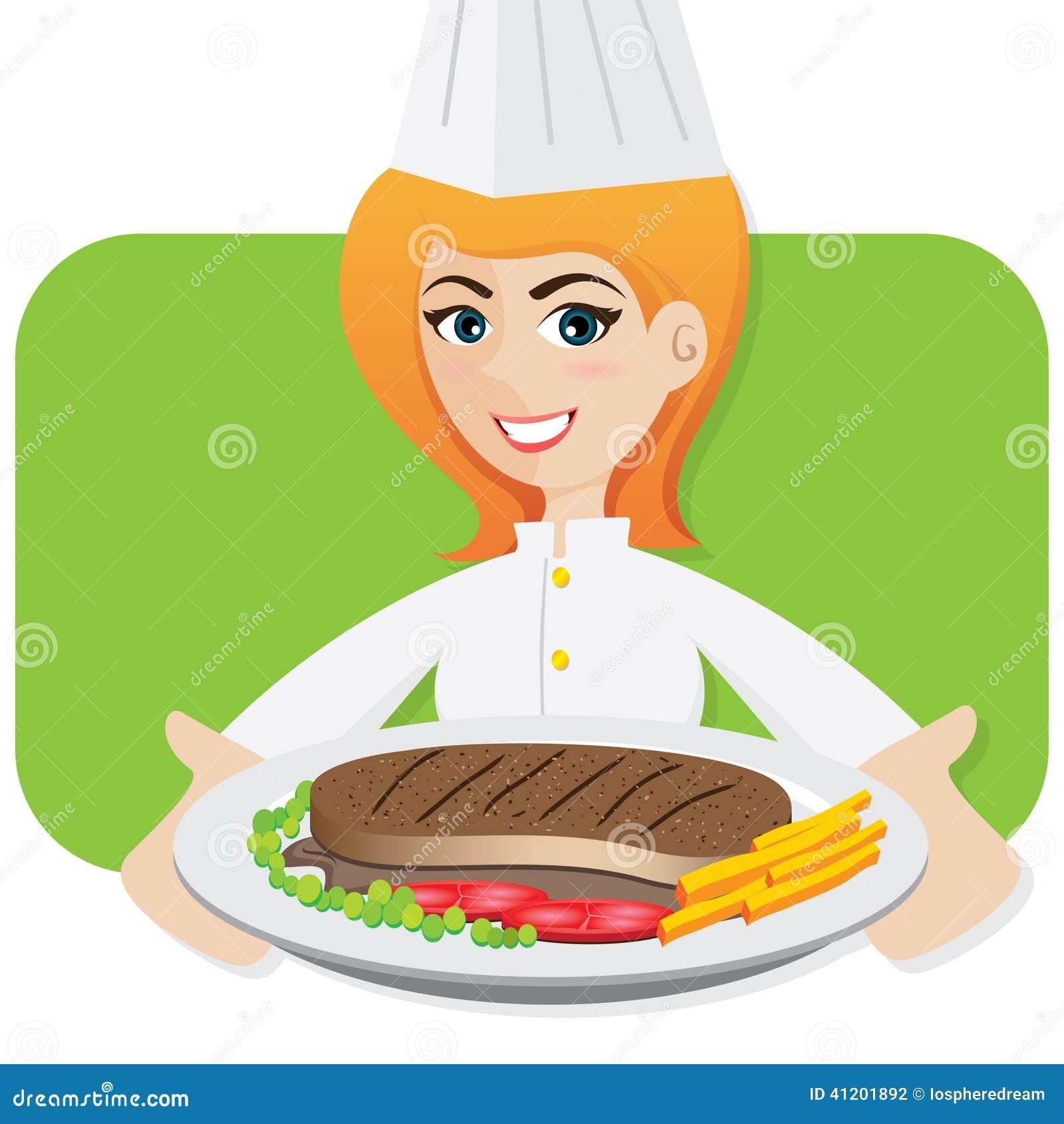 Cartoon Girl Chef Serving Steak Illustration Of Stock Photography