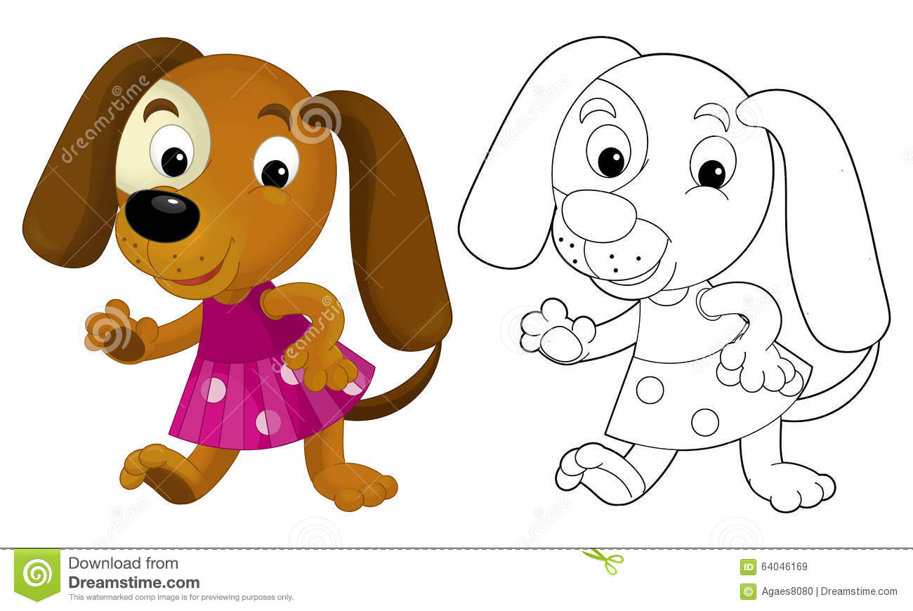 Cartoon Girl Dog Coloring Page With Preview Stock Illustration