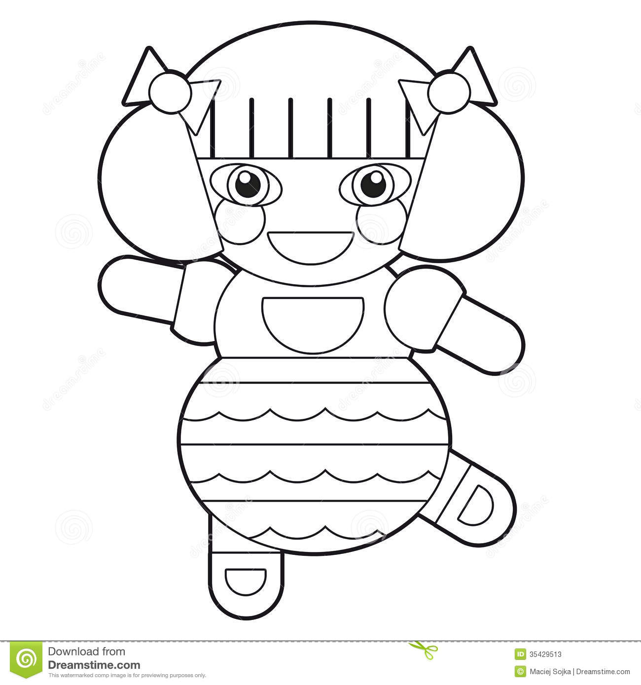 cartoon doll coloring page illustration for the