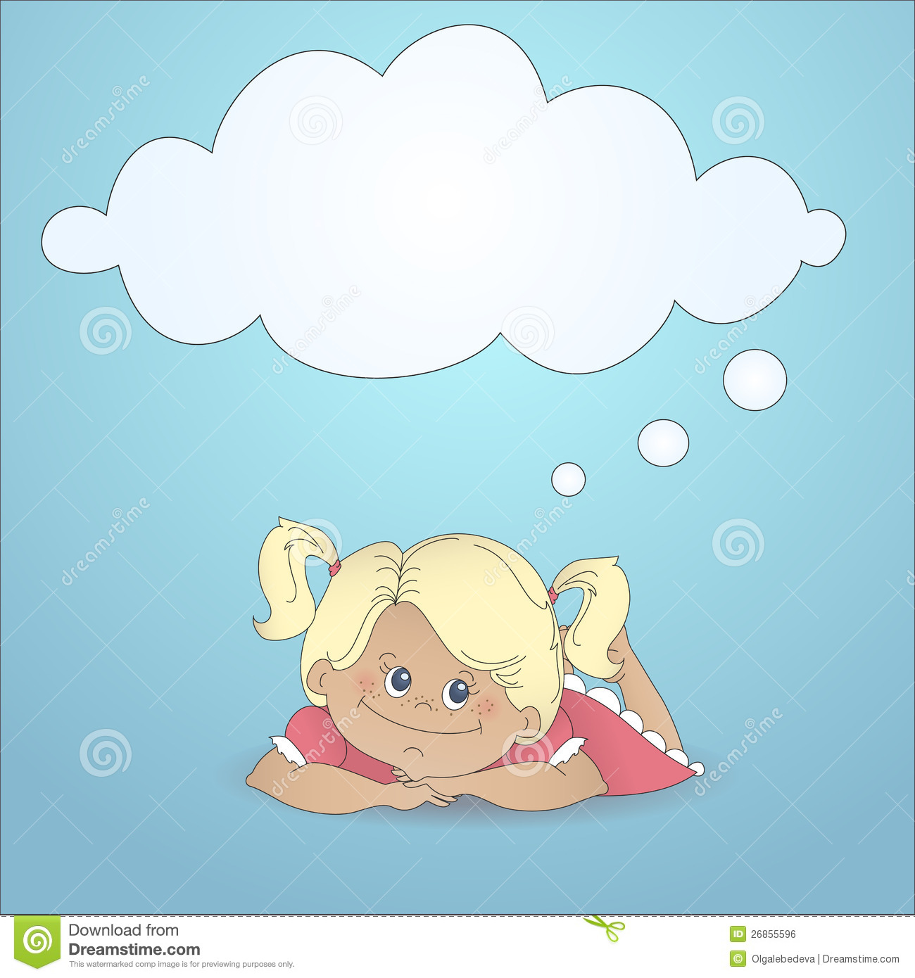 Cartoon Girl Dreaming With A Thought Bubble Royalty Free
