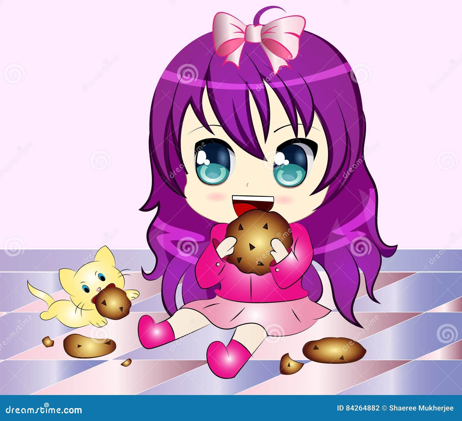Cartoon Girl eating Cookie