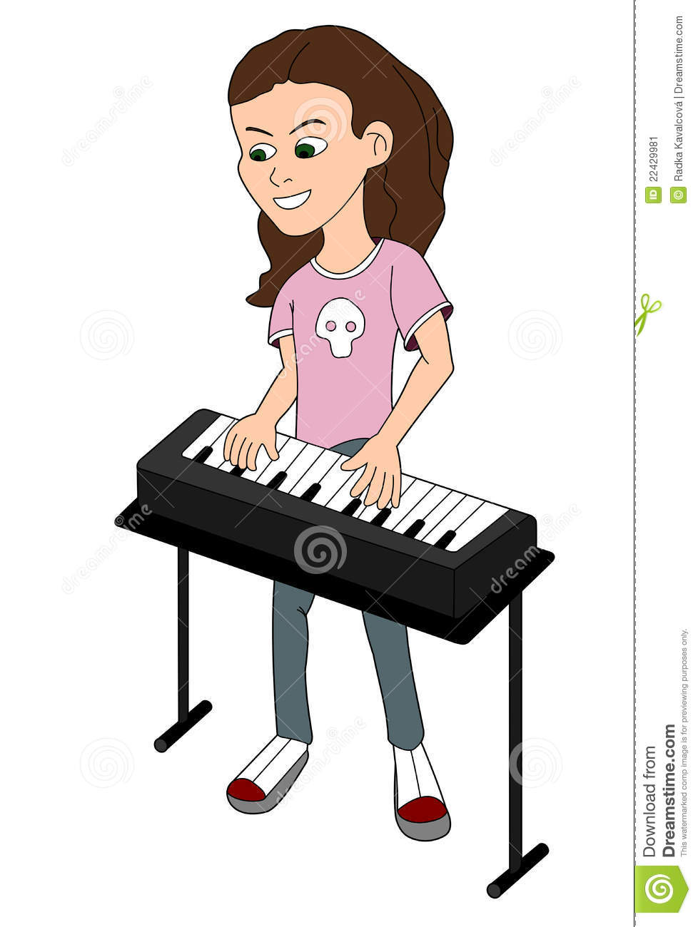 Cartoon Girl Playing The Keyboard Stock Image Image