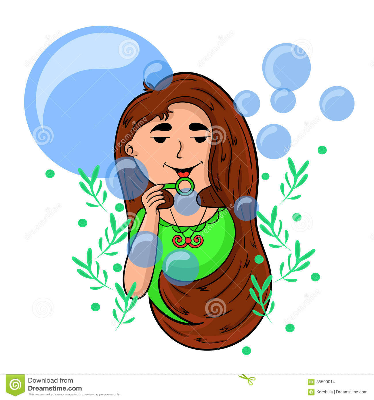 Cartoon girl playing with soap bubbles.