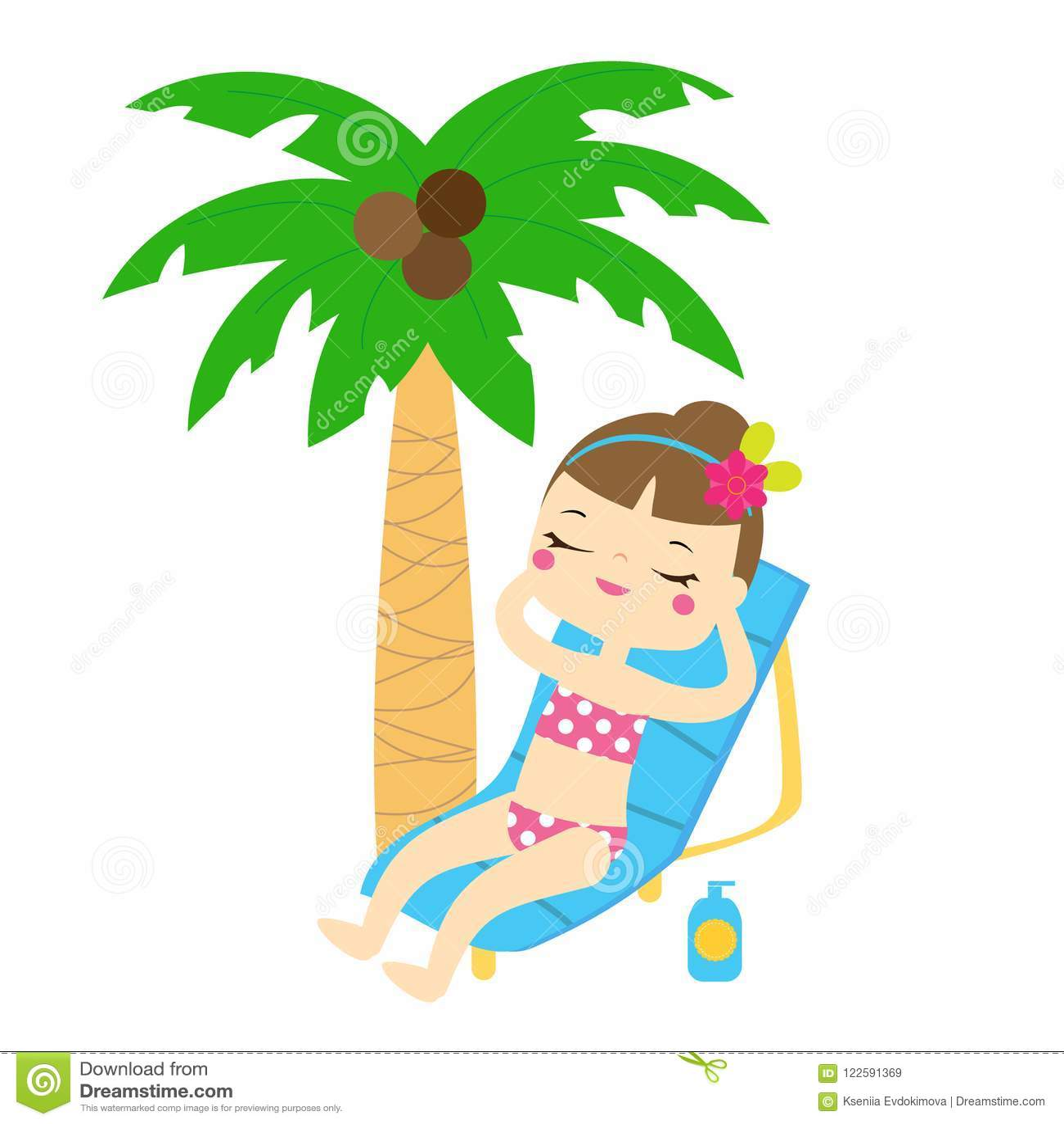 Cartoon Girl Enjoy Beach Summer Holidays Under Palm Tree