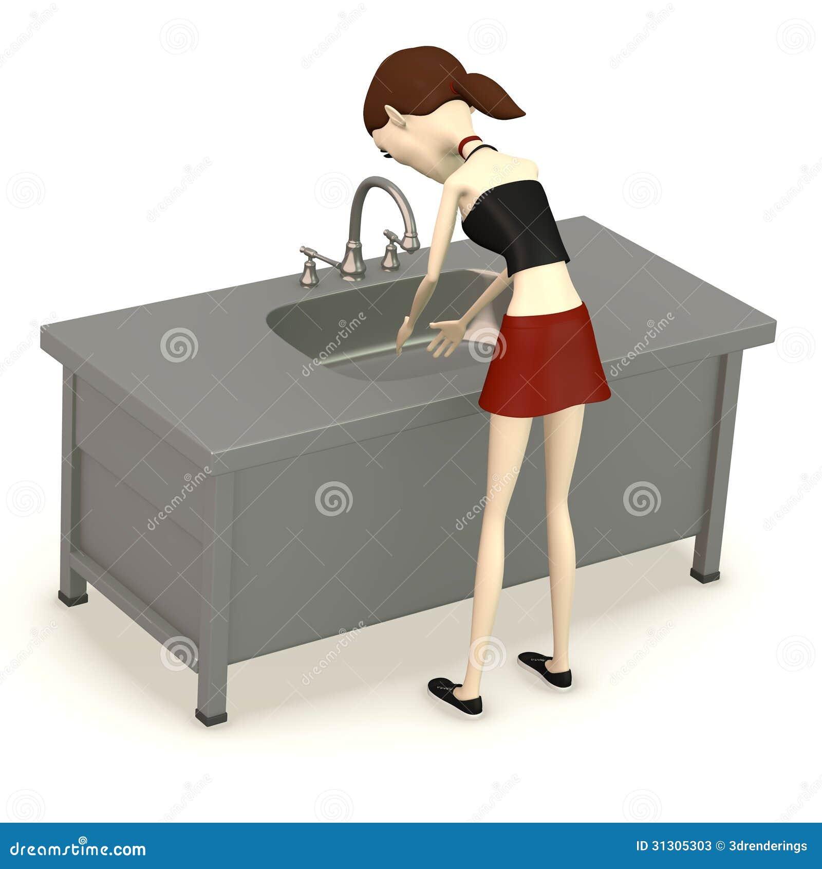Cartoon Kitchen Sink ~ Cartoon girl with sink stock illustration image of cook