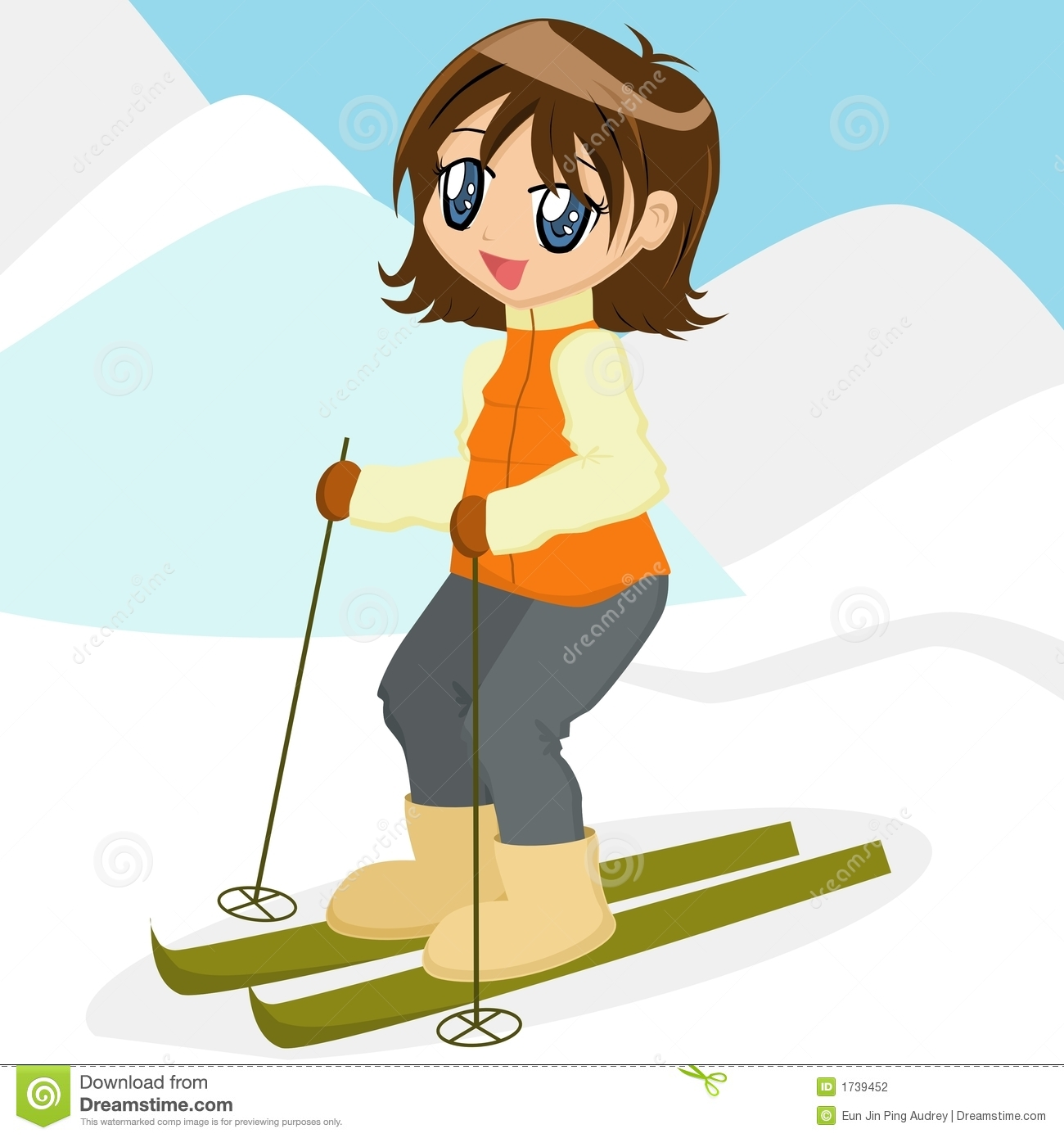 Cartoon Girl Skiing Stock Photography - Image: 1739452