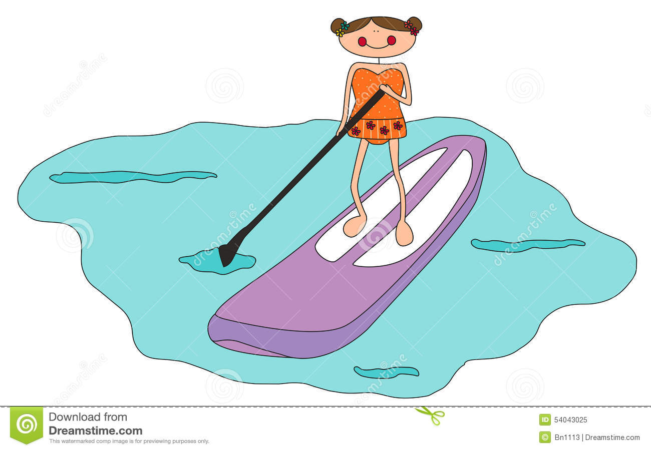 Cartoon Girl Stand Up Paddle Boarding Stock Illustration ...