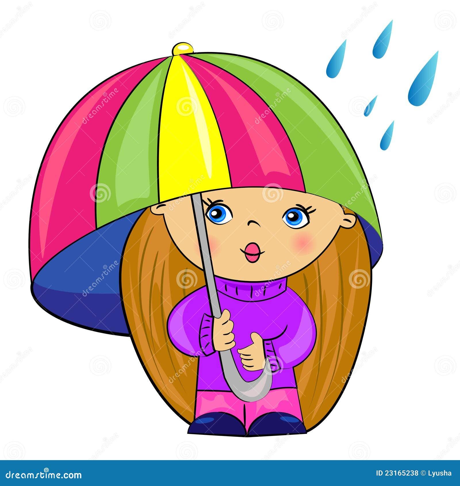 Cartoon Girl Under Umbrella Baby Royalty Free Stock