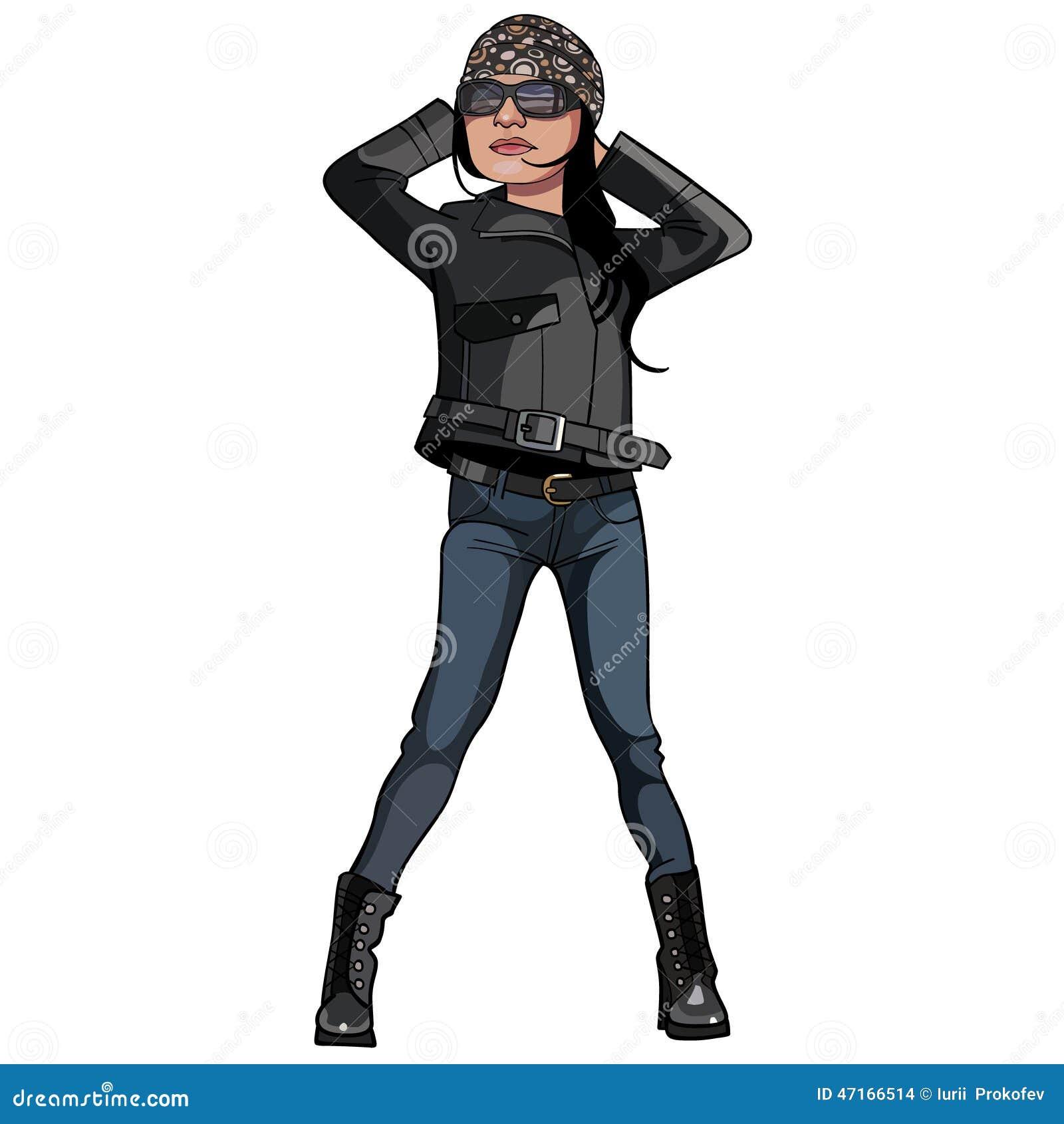 Cartoon girl wearing biker