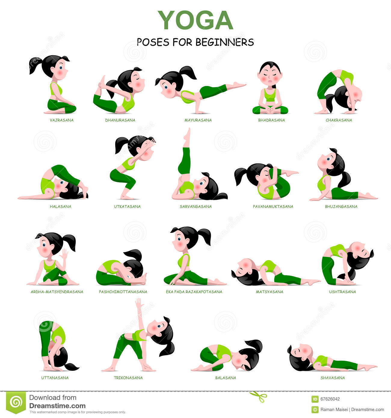 Cartoon Girl In Yoga Poses With Titles For Beginners Isolated On