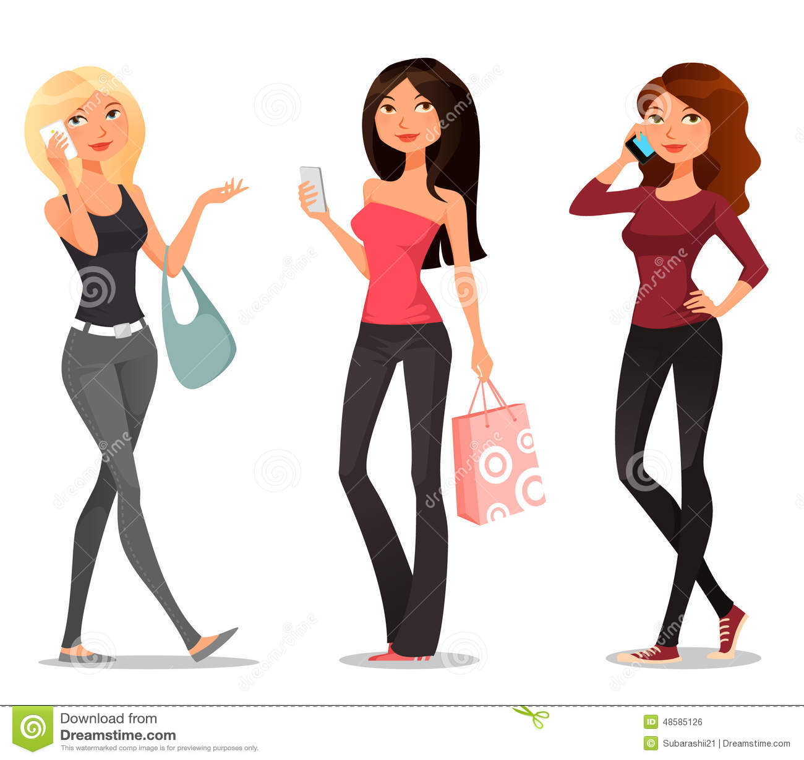 Cartoon girls with mobile phones stock vector image 48585126