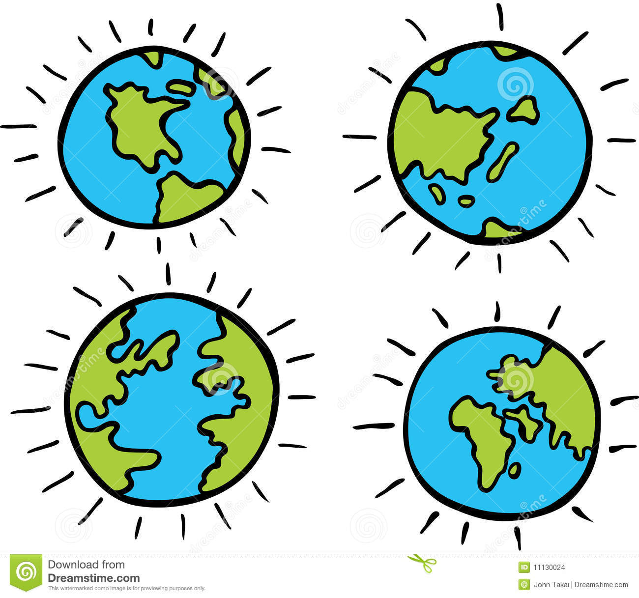 Set of cartoon images of planet earth - different continents.