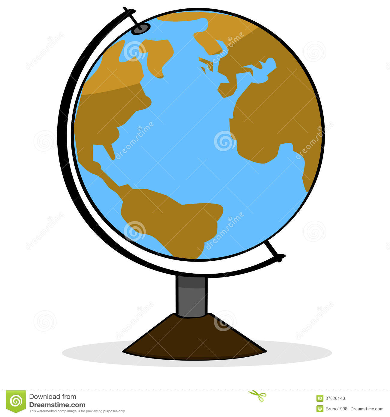 Cartoon illustration showing a school geography globe representing ...