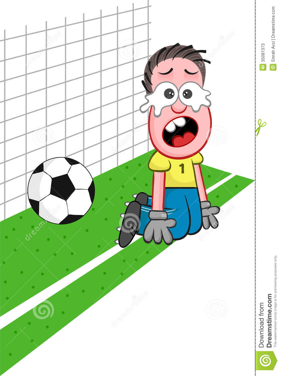 Soccer cartoon. Cartoon of funny goalkeeper failing to catch ball and ...