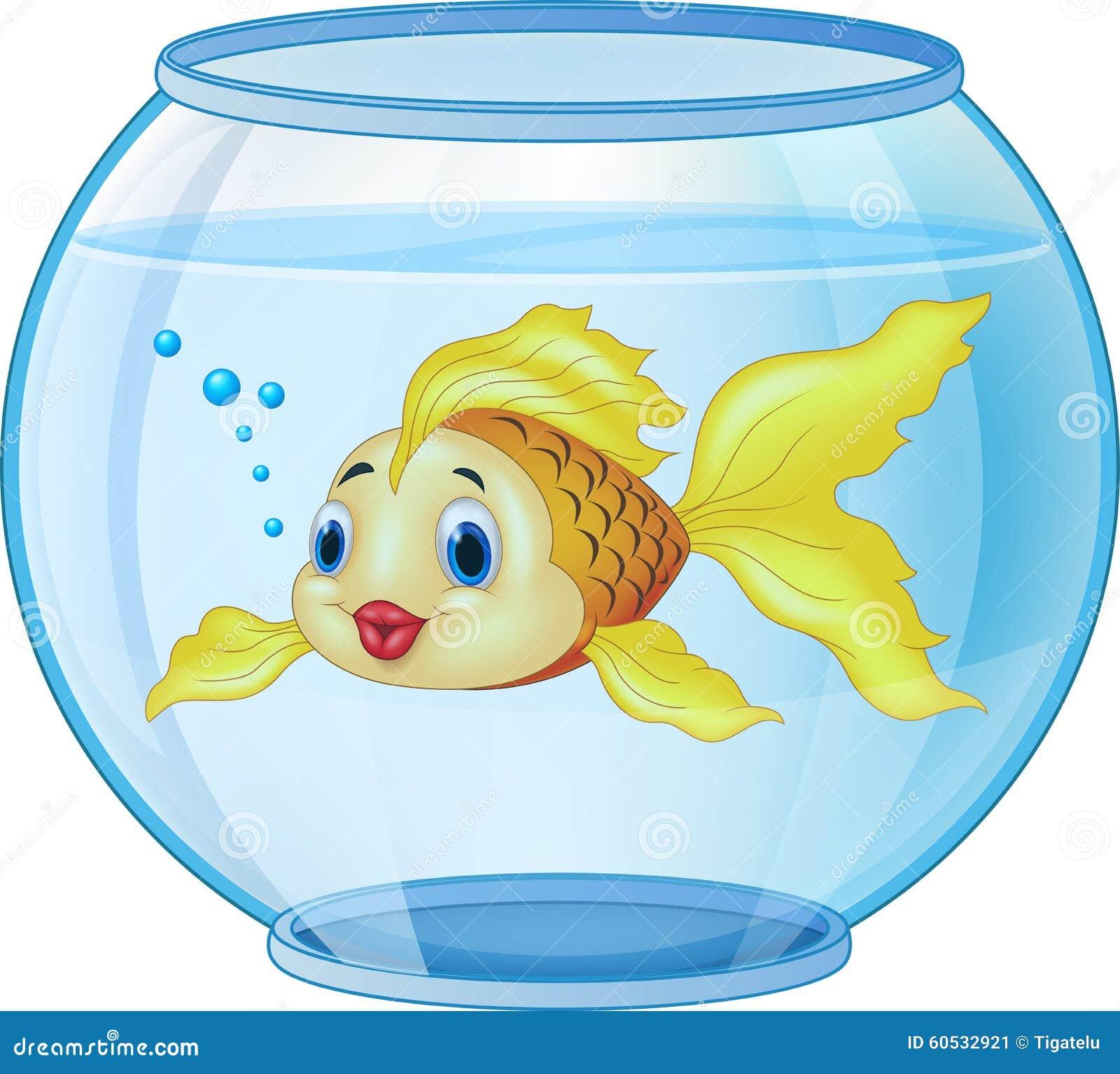 Cartoon Golden Fish In The Aquarium Stock Vector