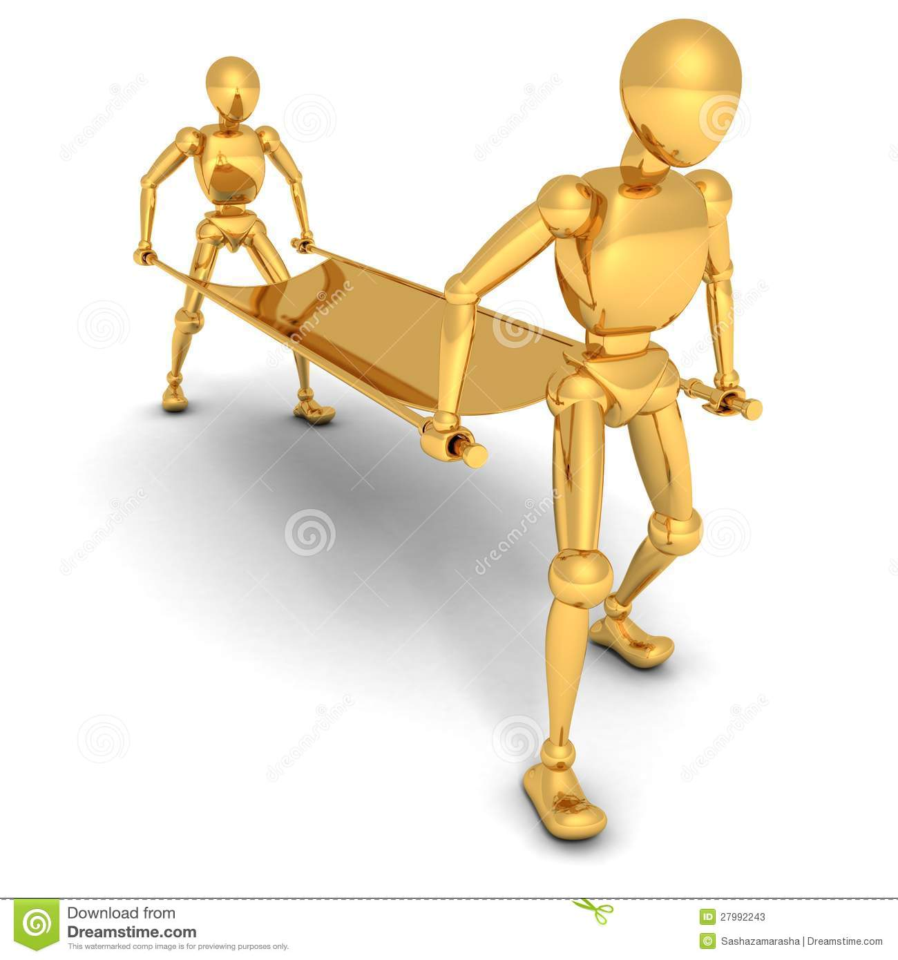 Cartoon golden human characters with stretcher 3d.