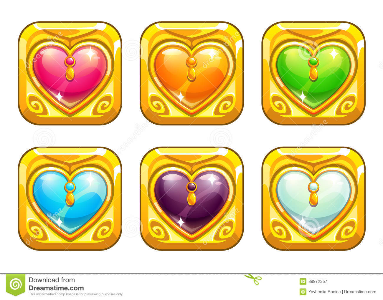 Cartoon Golden Love Amulets Stock Vector - Illustration of object