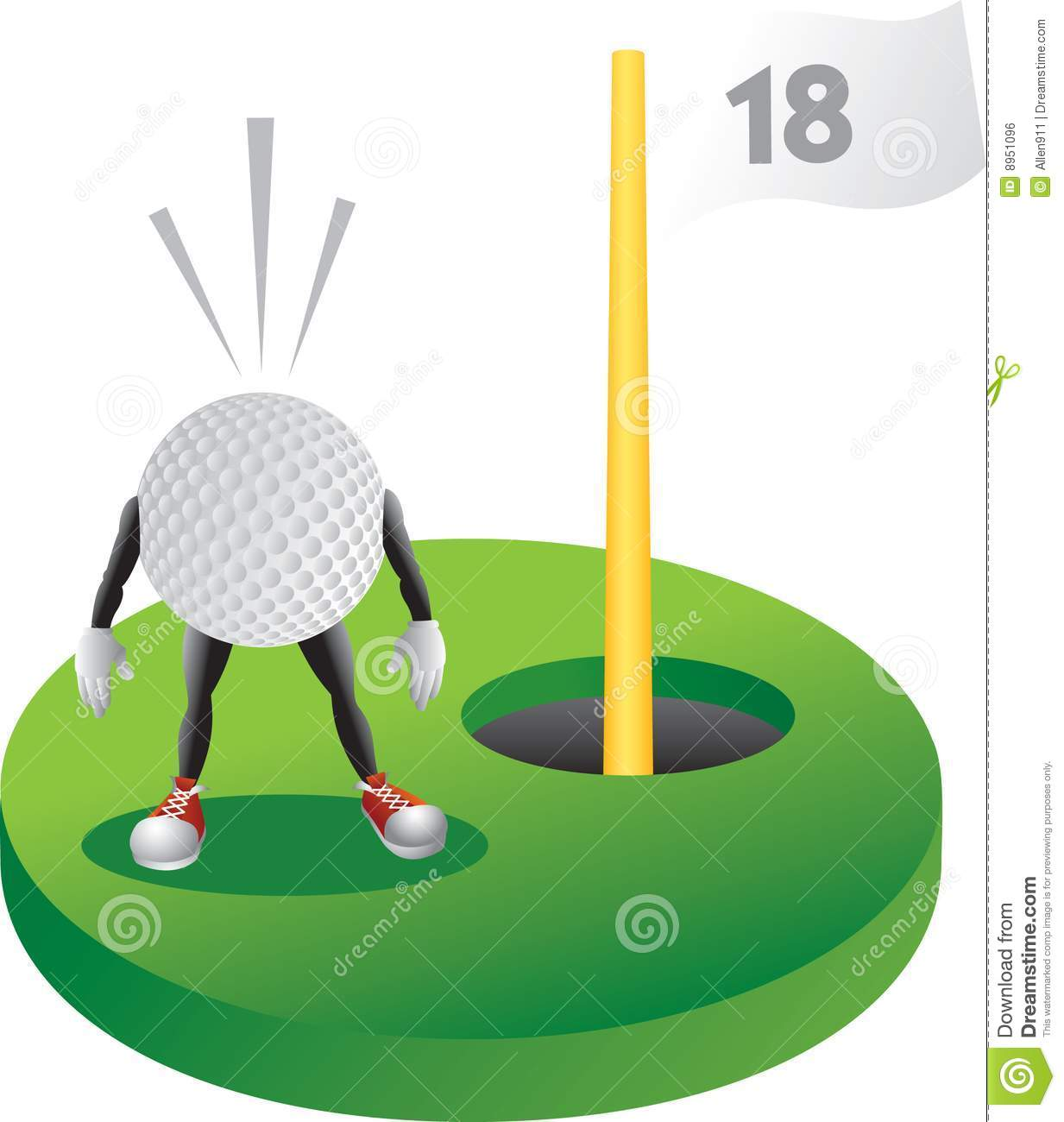 Cartoon Golf Ball At The Last Hole Royalty Free Stock ... Golf Hole Clip Art