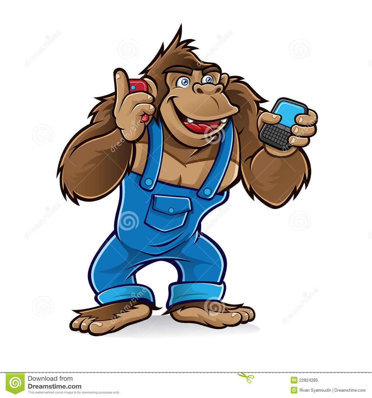 Cartoon Gorilla With Mobile Phones Stock Vector ...