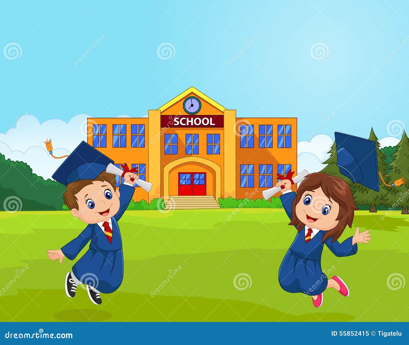 Cartoon Graduation Celebration With School Stock Vector ...
