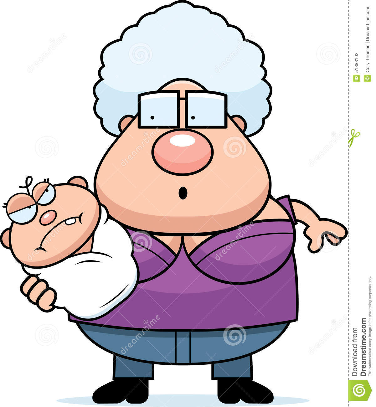 Cartoon Grandma With Angry Baby Stock Vector - Illustration of parent, clipart: 51383102